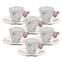 Jogo de 6 Xícaras Para Café de Porcelana, Rojemac 1162, Branco/Rosa