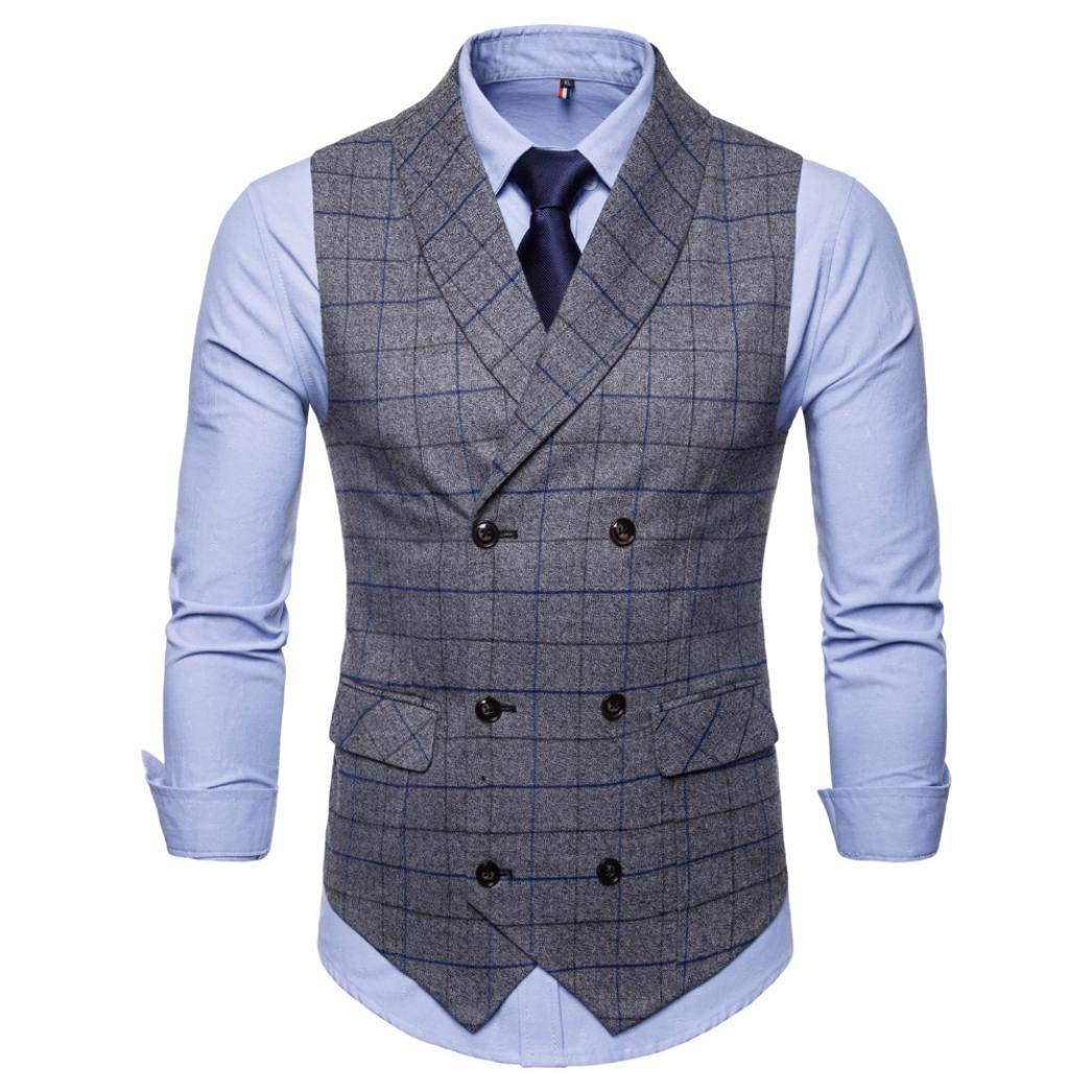 iLXHD Casual Men Plaid Printed Sleeveless Jacket Coat Suit Vest Blouse by iLXHD (Image #2)