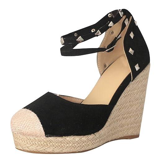 82abafe9af69b Amazon.com: Women's Platform Wedges Sandals Close Toe Straw Sandals ...