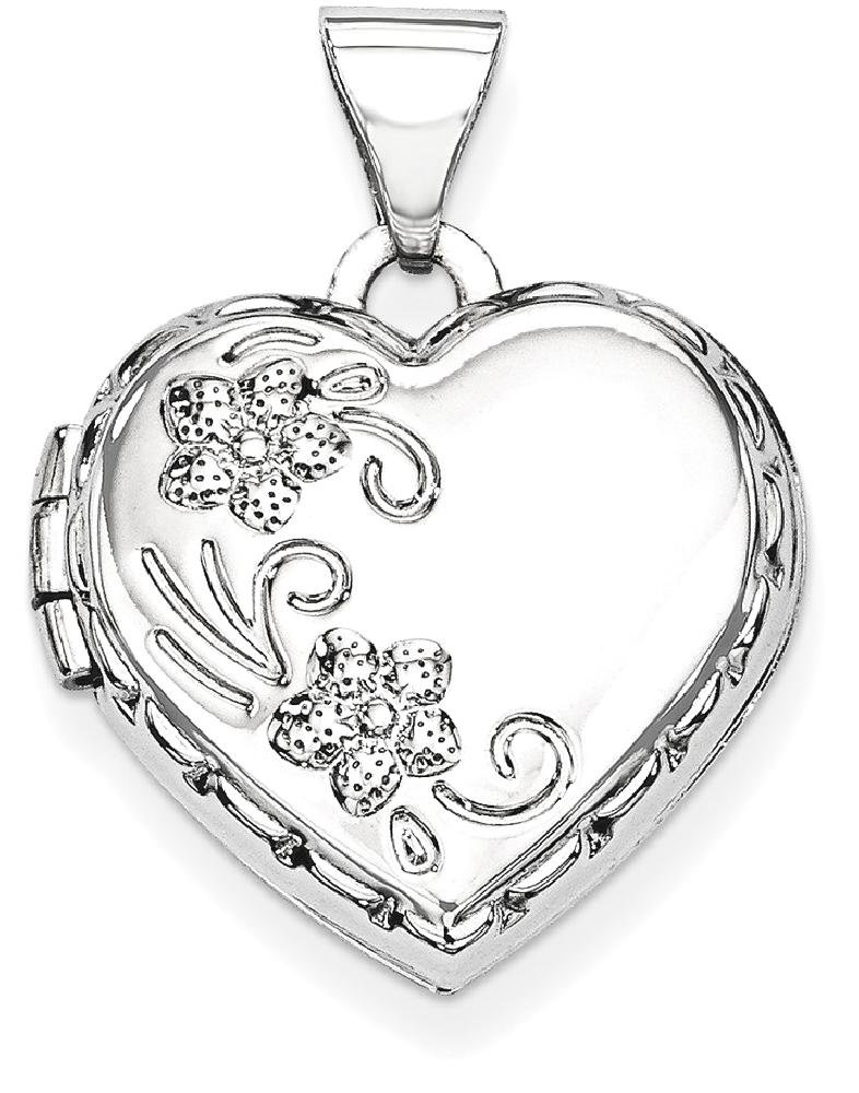 ICE CARATS 14k White Gold Heart Shaped Reversible Floral Photo Pendant Charm Locket Chain Necklace That Holds Pictures Fine Jewelry Gift Set For Women Heart