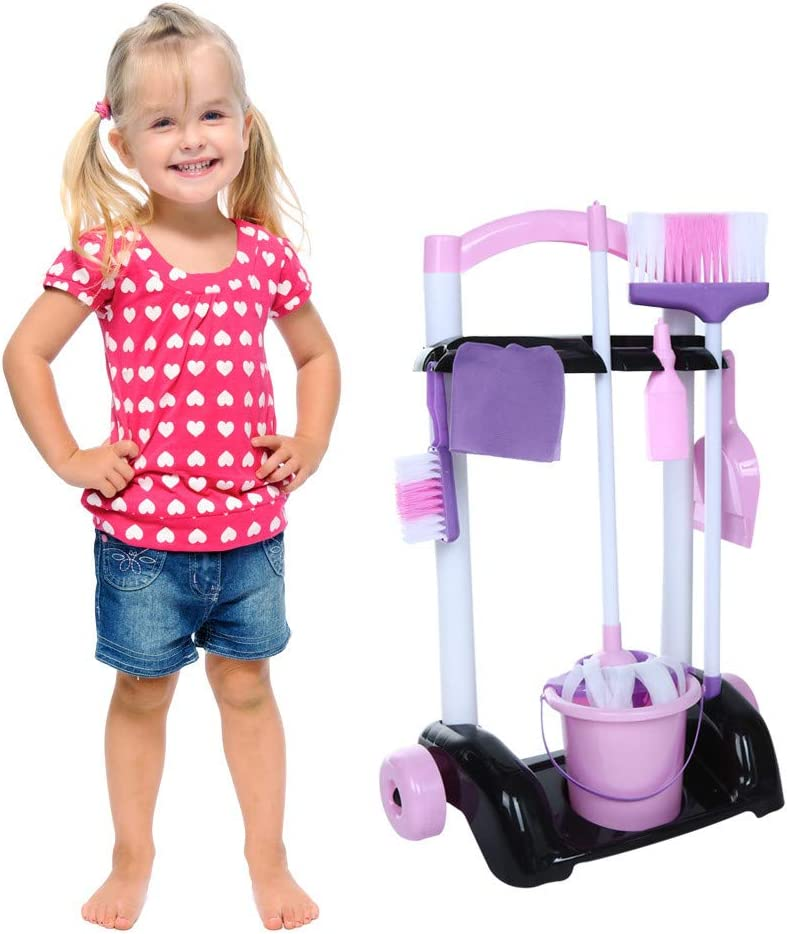 Uplord Childrens Cleaning Set- Broom, Mini Sweeper, Toy Cleaning Supplies That Work,Kids Little Helper Portable Cleaning Set with Instruments,Adorable Kids Housekeeping Clean Tool Kit,Ship from US!!!
