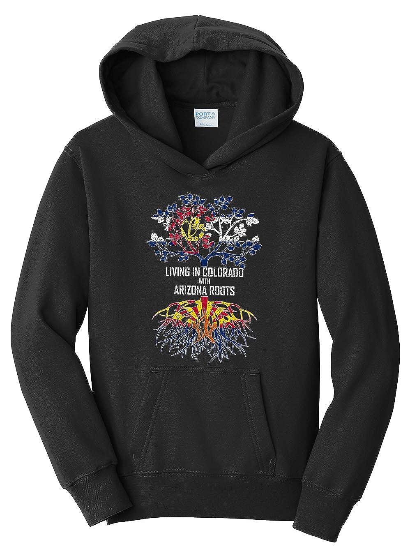 Tenacitee Girls Living in Colorado with Arizona Roots Hooded Sweatshirt