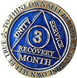 3 Month AA Medallion Reflex Blue Gold Plated 90 Day Chip