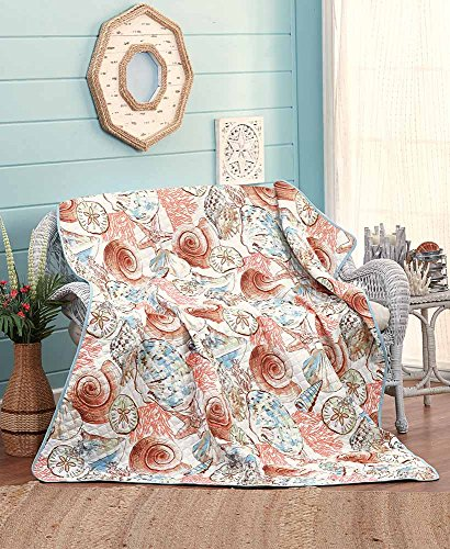 The Lakeside Collection Jumbo Quilted Shells Throw in a Tote