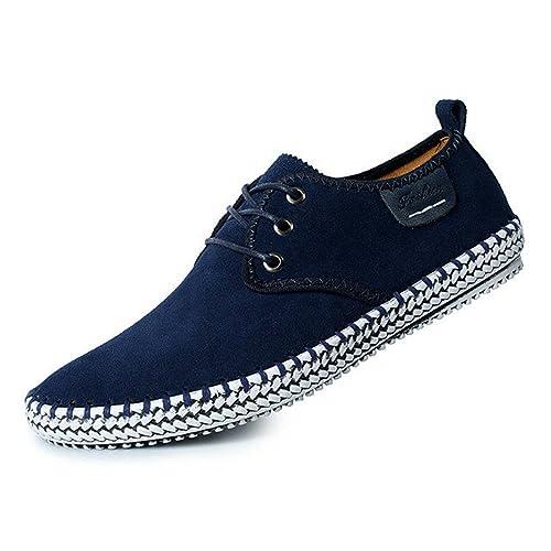 CUSTOME Hombres Ante Cuero Zapatos con Cordones Sneaker Mocasines Ligero Plano Suave Durable Hecho a Mano Antideslizante Zapatos: Amazon.es: Zapatos y ...