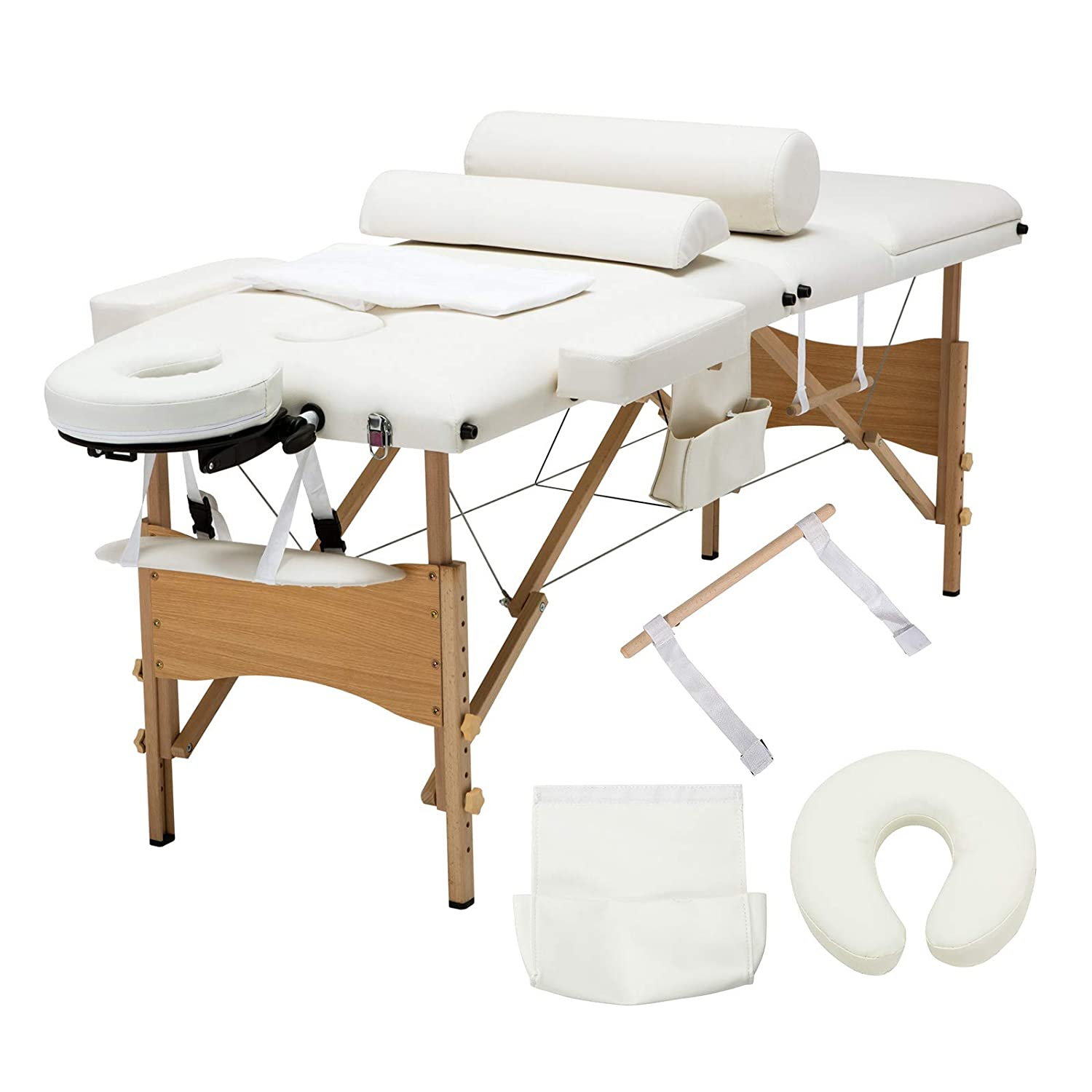Uenjoy Folding Massage Table 84'' Professional Massage Bed Luxury-Model with Additional Accessories 3 Fold, Pink