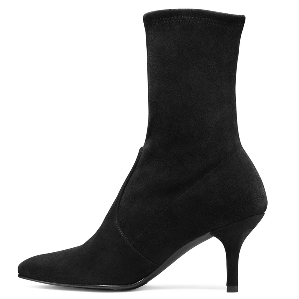 Sock Boots for Women,Women's Slip On Pointed Toe Mid Calf Boots Stretchy Suede Kitten Heel Booties B078RLC342 7.5 B(M) US|Black Suede-6.5cm