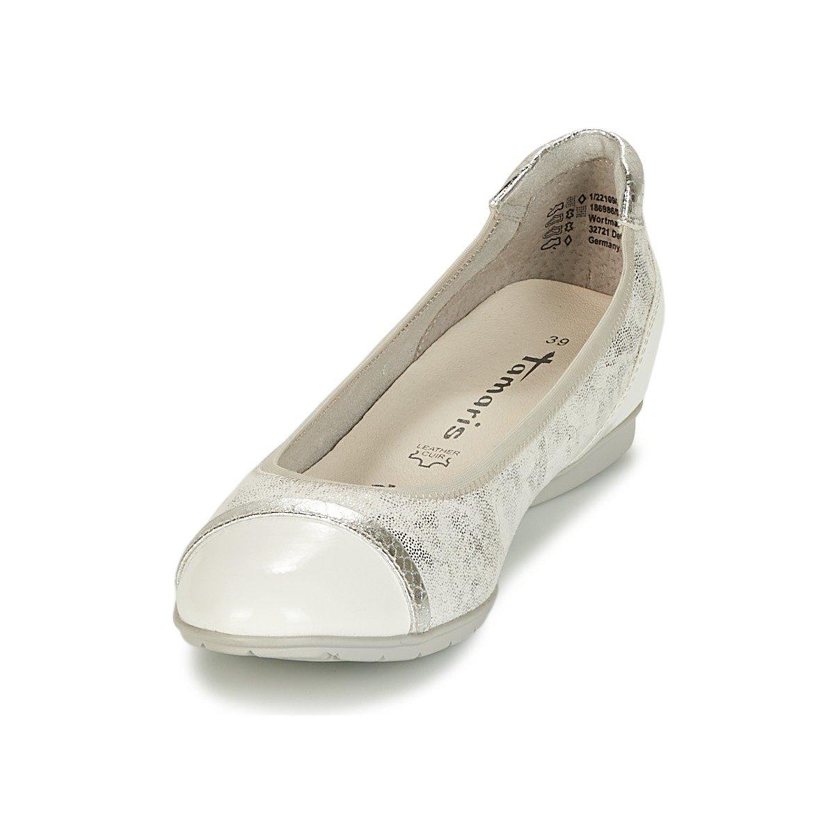 Tamaris Damen Ballerinas 417145 1-1-22109-20/197 weiß 417145 Ballerinas 529cf0
