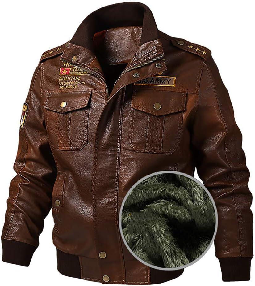 W&TT Chaquetas de Cuero de PU de Bombardero para Hombre Chaquetas de Motocicleta de Cuero de imitación Cuello Alto con Cremallera Abrigo de Motociclista Outwear, Fino/Grueso,Brownthick,XXXXXL