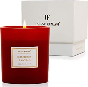 TALENT FAREAST Red Cherry + Vanilla Scented Candle for Home 8oz. Luxury Aromatherapy Candles 40 Hour Rich Aroma Gift Natural Soy Wax Premium Fragrance Jar Candle Relaxing