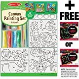 Melissa & Doug Animals: Canvas Coloring Set + FREE Scratch Art Mini-Pad Bundle [94481]