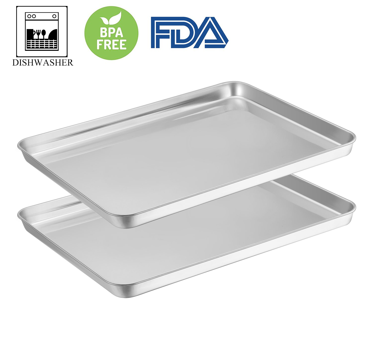 Baking Sheets Set of 2, E-far Baking Pan Cookie Sheet Stainless Steel Baking Tray 16''x12''x1'' Rectangle Size, Rust Resistance & Easy Clean, Dishwasher Safe - 2 Pieces