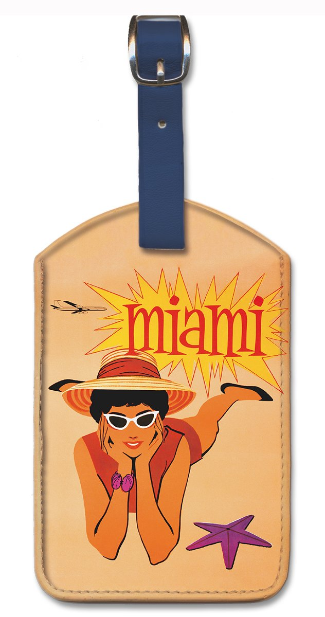 Miami by Hoyt Pacifica Island Art Leatherette Luggage Baggage Tag