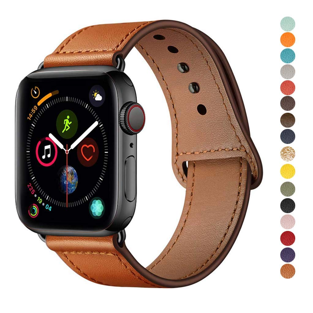 YALOCEA Compatible with iWatch Band 44mm 42mm 40mm 38mm, Genuine Leather Band Replacement Strap Compatible with Apple Watch Series 4 Series 3 Series 2 Series 1, Brown 42mm 44mm by YALOCEA