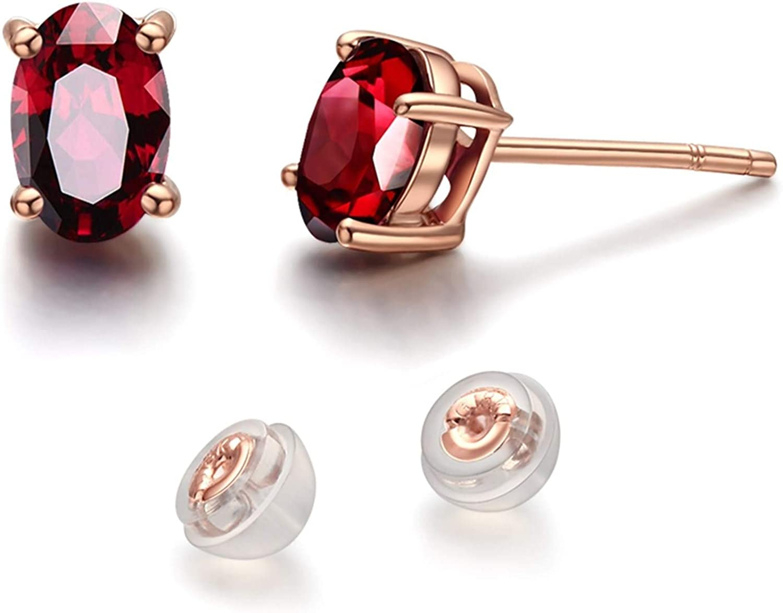 Daesar Pendientes Oro Rosa 18k Mujer Oval Granate Rojo 3.2ct