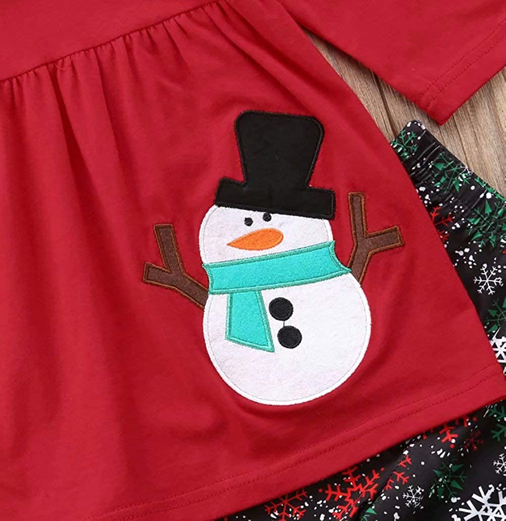 SUPEYA Baby Boys Girls Cartoon Snowman Print Long Sleeves Dress Tops Pants Outfits