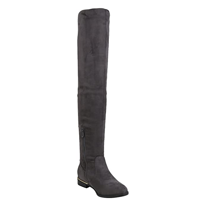 napoli-fashion Gefütterte Damen Schuhe Overknees Metallic Winter Stiefel Leder-Optik Dunkelblau Metallic 38 Jennika 16SCU55I4r