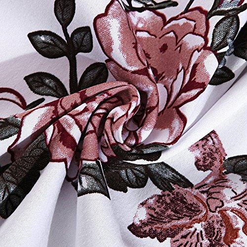 Charmma Cou À Manches U Vintage Femme Moitié Patchwork Imprimé Floral Balançoire Robe Blanche 1