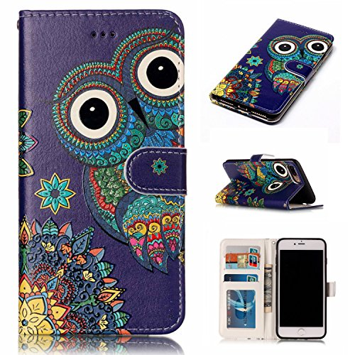 Price comparison product image iPhone 8 Plus Case,iPhone 7 Plus,DAMONDY 3D Wallet Shiny Relief Stand Purse Card ID Holders Design Flip Cover TPU Soft Bumper PU Leather Magnetic for Apple iPhone 8 Plus 2017 / 7 Plus-Blue Owl