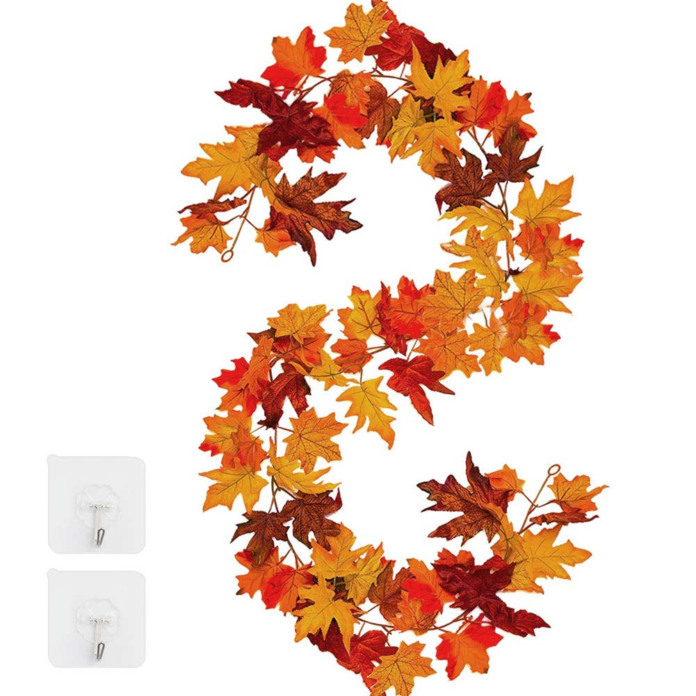 Shyneer Fall Maple Leaf Garland Hanging Vine- 150m - Autumn Harvest Garland Decoration for Wedding Party Christmas Dinner Fireplace Door Frame Doorway Backdrop Decor,with 2 Hooks