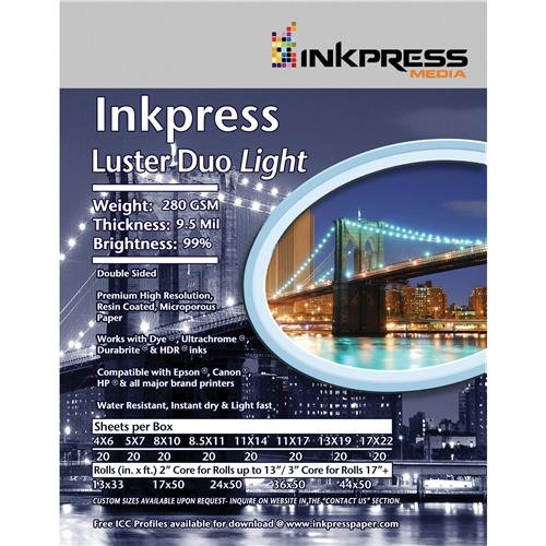 Luster Duo Inkpress - Inkpress Luster Duo, Double Sided Inkjet Paper, 99% Bright, 280 gsm, 9.5 mil., 11x17