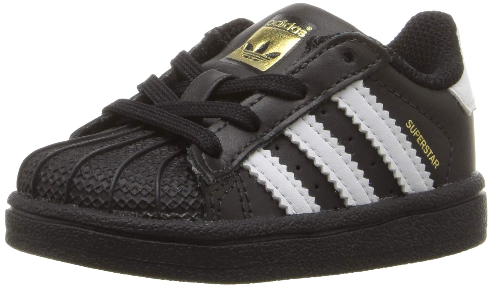 adidas Originals Baby Superstars Running Shoe, Black White, 10K M US Toddler