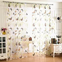 Owill Dandelion Butterfly Window Curtain Tulle Window Treatment Sheer For Hme Decor (One Size, Multicolor)
