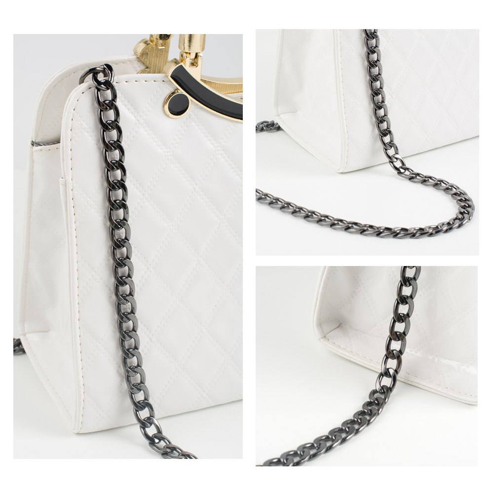 Myathle 10MM Width Iron Flat Chain Strap Handbags Replacement Chains for Wallet Clutch Satchel Tote Bag Length 51 Purse Chain Shoulder Crossbody Bags Gold Plated Hardware Chain