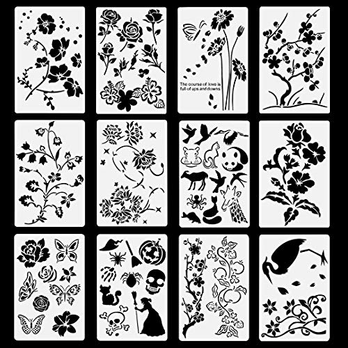 Stencil Flower (Poproo Painting Stencils Set Drawing Templates - for Kids, Bullet Journaling, Decorating (12 Pack, 10.2x6.7 inch))