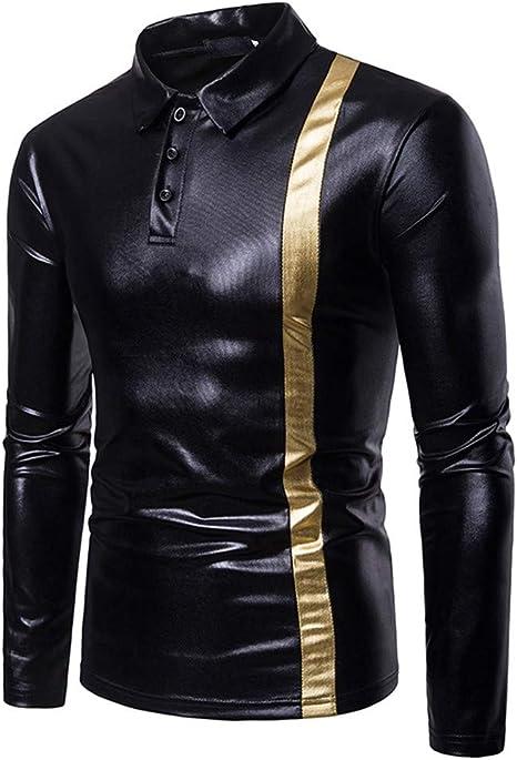 CHENSHAN Polo Camisa Hombre Moda Hombres Oro Plata Negro Brillante Etapa Desgaste Largo Sleebe Otoño Hombres Camisa Polo, Negro, S: Amazon.es: Deportes y aire libre