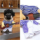 Guitar Dog Costume Clothes for Dogs Funny Pet Halloween Party Puppy Outfits Pet Clothing Pug French Bulldog (M)
