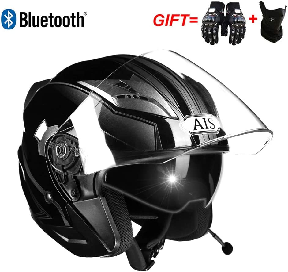 Bluetooth FM LMJ-QXhat Casco de Motocicleta Modular Bluetooth Integrado Prueba de pinchazo con certificaci/ón Dot: Casco de Motocicleta 3//4 . Incluye Bluetooth, m/áscara, Guantes