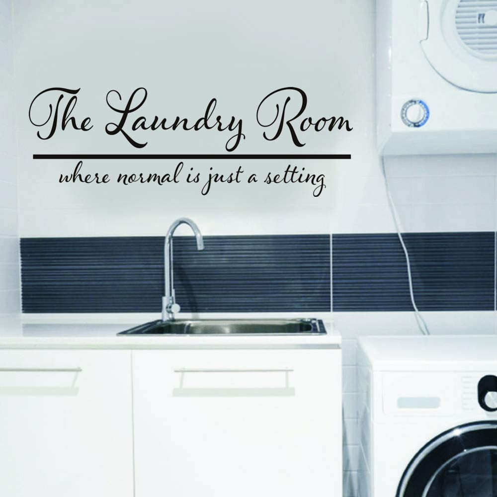 YttBuy Laundry Decals The Laundry Room Where Normal is Just A Setting Clothes Washing Machine Soap Wall Decal Sticker Art Mural Home Decor Quote for Bedroom Living Room (13'' x 40'')