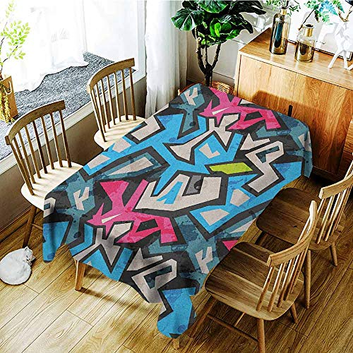 XXANS Spill-Proof Table Cover,Grunge,Street Art Theme with Colorful Graffiti Funky Display Underground Urban Culture,High-end Durable Creative Home,W50x80L Multicolor -