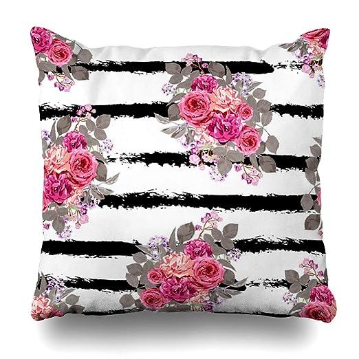 Ahawoso - Funda de almohada decorativa con diseño de rosas ...