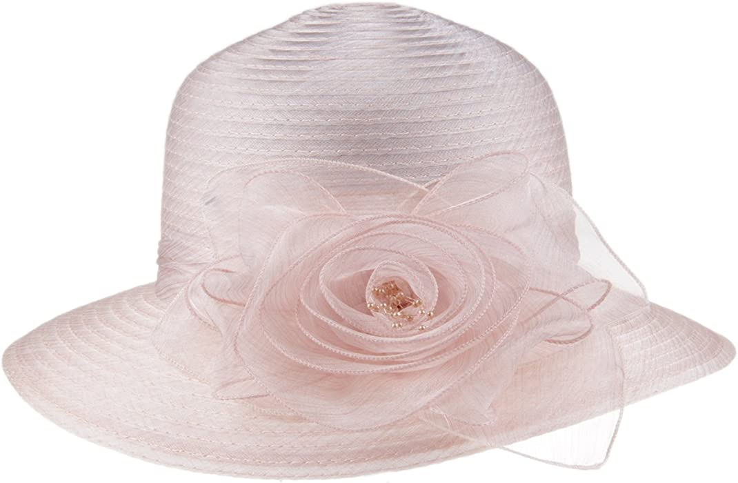 086c9f9d7f4 Prefe 1920s Womens Summer Organza Kentucky Derby Dress Bowler Sun Hat Derby  Tea Party (Beige
