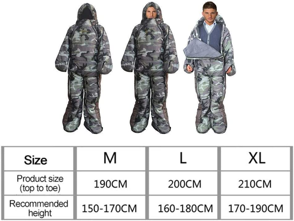 Kyman Adult Wearable Sleeping Bag with Feet,Standing 3 Season Portable Outdoor Camping Sleeping Suit Waterproof Windproof for RV Trips,Outdoors,Hiking,L for 160-180 cm Carry Bag Included