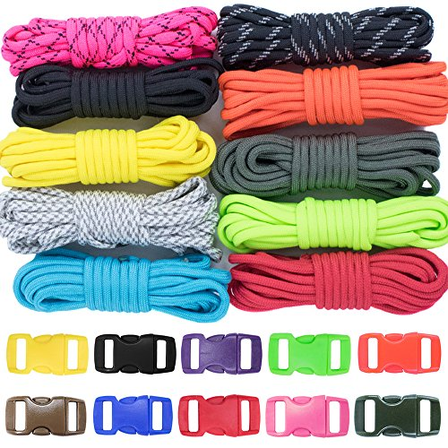 Zesty-500lb-Survival-Paracord-Combo-Crafting-Kit-by-West-Coast-Paracord-10-Colors-of-500lb-Cord-10-FREE-buckles-Type-III-Paracord-Make-10-Paracord-bracelets-Great-Gift