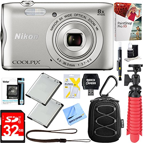 Beach Camera Nikon COOLPIX A300 20.1MP 8x Optical Zoom NIKKOR WiFi Digital Camera (Silver) + 32GB SDHC High Speed Memory Card + Two-Pack EN-EL19 Replacement Battery + Accessory Bundle