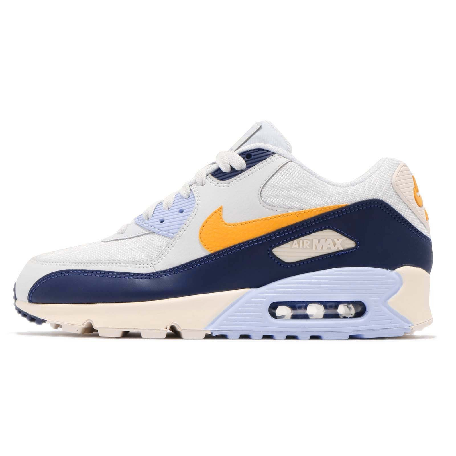 Nike Mens Air Max 90 Essential Running Shoes Pure PlatinumYellow OchreBlue Void AJ1285 008 Size 9