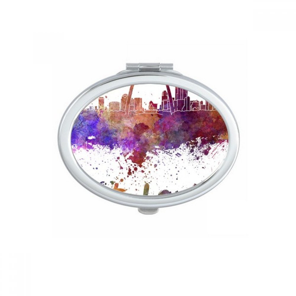 St.Louis America Country City Watercolor Illustration Oval Compact Makeup Pocket Mirror Portable Cute Small Hand Mirrors Gift