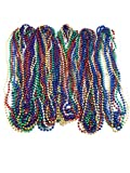 Oojami 72 Necklace 33 inch 07mm Metallic Multi Colors Mardi Gras Beads Beaded Necklace