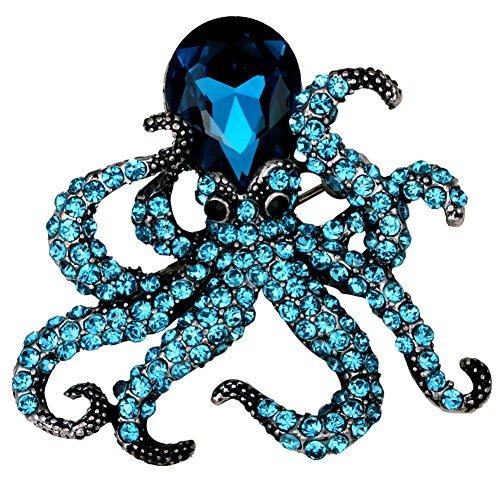 YACQ Jewelry Crystal Creepy Octopus Pin Brooch for Halloween Costume Accessories Party Women Teen -