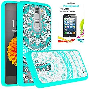 LG Tribute 5 / LG K7 / LG Treasure LTE Clear Case With HD Screen Protector, AnoKe [Scratch Resistant] Colors Totem Mandala Flower Ultra Slim Acrylic Hard Cover TPU Bumper For LG K7 TM CH Mint