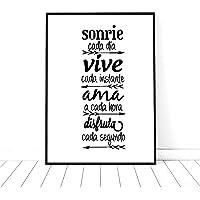 "Cuadro decoración salón, moderno, personalizado con frase motivadora"" sonríe.vive.ama.disfruta"".Elige tamaño,color texto…"