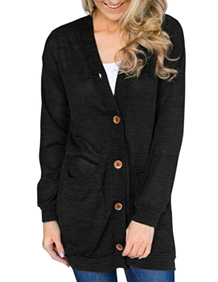 ed8ee4fbb22 MEROKEETY Women s Long Sleeve V Neck Button Down Knit Cardigans with  Pockets Black at Amazon Women s Clothing store