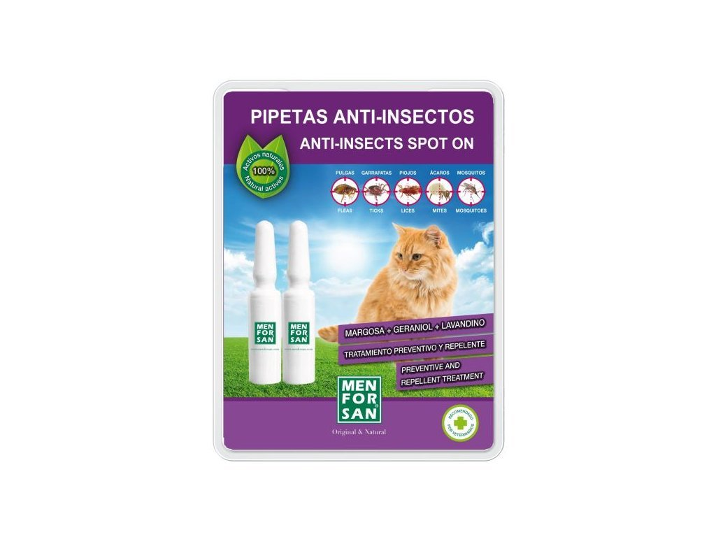 MEN FOR SAN 54118MFG063 2 Pipetas Antiinsectos para Gatos con Margosa, Geraniol y Lavandino: Amazon.es: Productos para mascotas