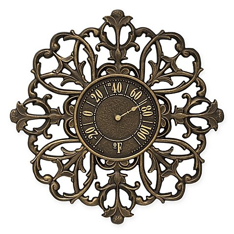 Whitehall Products Filigree Outdoor Thermometer in French Bronze