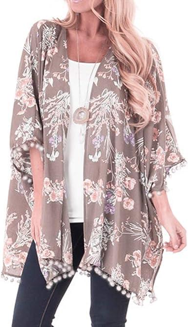 Mujeres Moda Estampado Floral Kimono Cardigan Bola borlas Frente Delantero Flojo Cubrir hasta Blusa Superior: Amazon.es: Ropa y accesorios