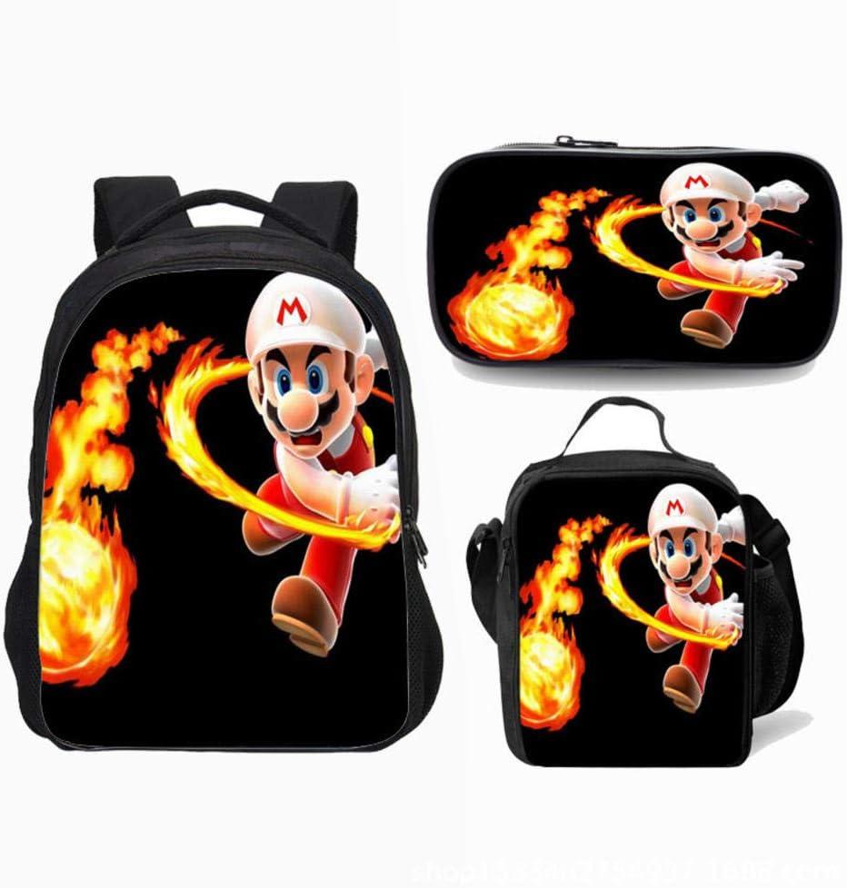 Mochila Super Mario para niños, niñas Adolescentes Mochila Niños Super Mario Bros Mochilas Escolares Bolsas para Almuerzo Estuche para lápices Juego de 3 Piezas: Amazon.es: Equipaje